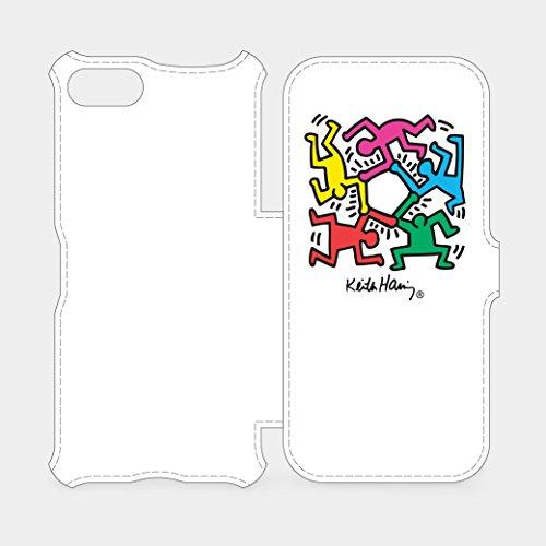 キース・ヘリング: iPhone 7 フリップカバー Hexagon Figs ホワイト