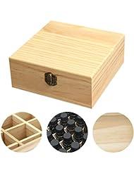 clouday エッセンシャルオイル収納ボックス 自然木製 エッセンシャルオイルオイル 収納 ボックス 香水収納ケース アロマオイル収納ボックス 25本用 approving