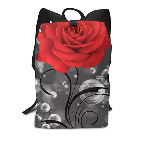 SKYHEART赤いバラの花、泡 リュック カバン バックパ...