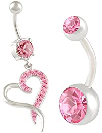 2Pcs 14g 3/8 inch 10mm Heart Crystal Belly Button Ring Dangle Sexy Surgical Steel Cute Navel Piercing Jewelry