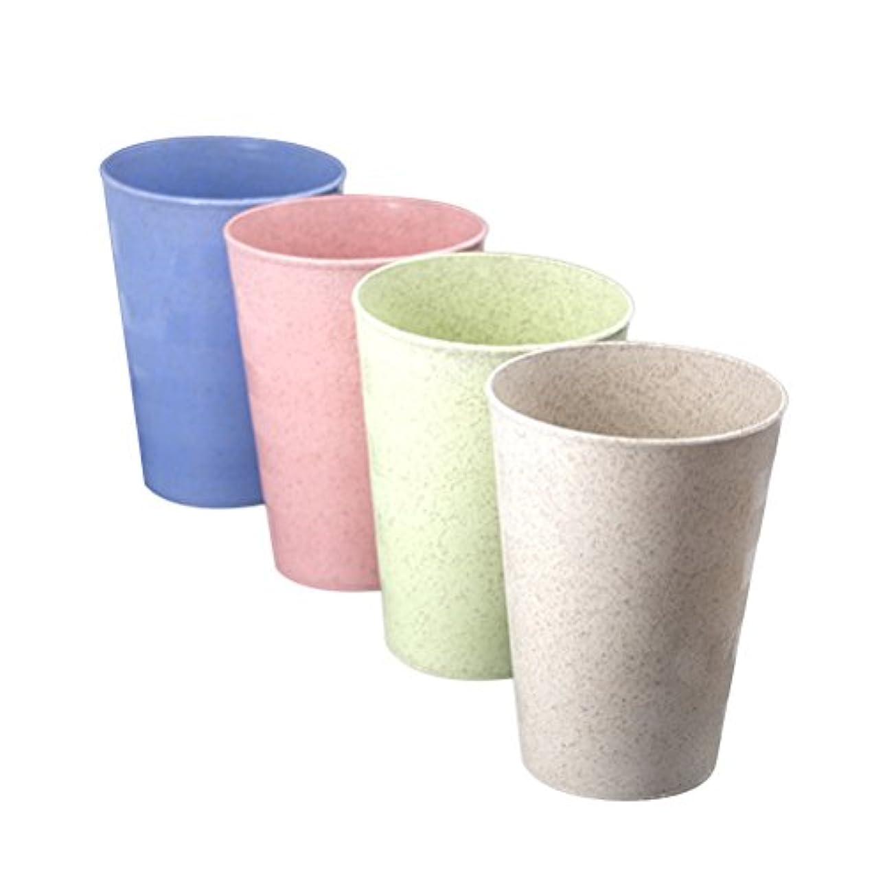 哲学博士ガロンバンジージャンプWINOMO 4個ホームマルチカラーWheatストロー生分解性ドリンクカップマグカップ歯ブラシカップ