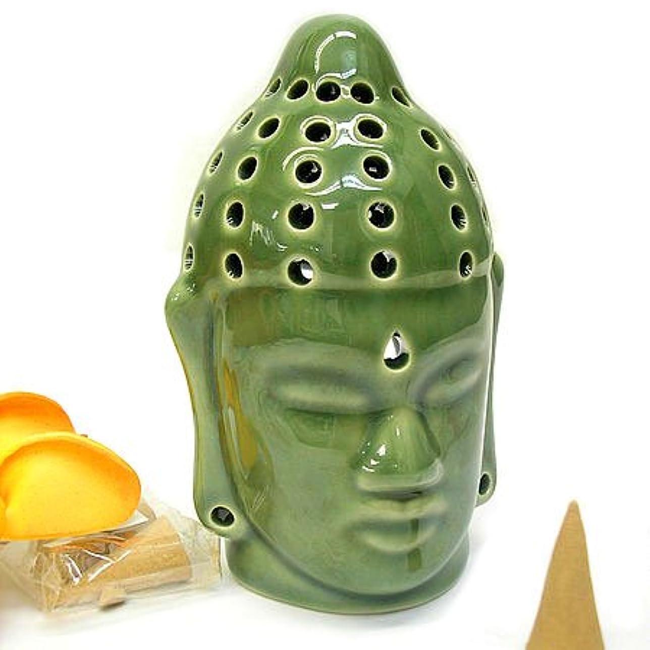 不測の事態モノグラフ砲撃仏陀の お香たて 香炉 コーン用 緑 インセンスホルダー コーン用 お香立て お香たて アジアン雑貨 バリ雑貨