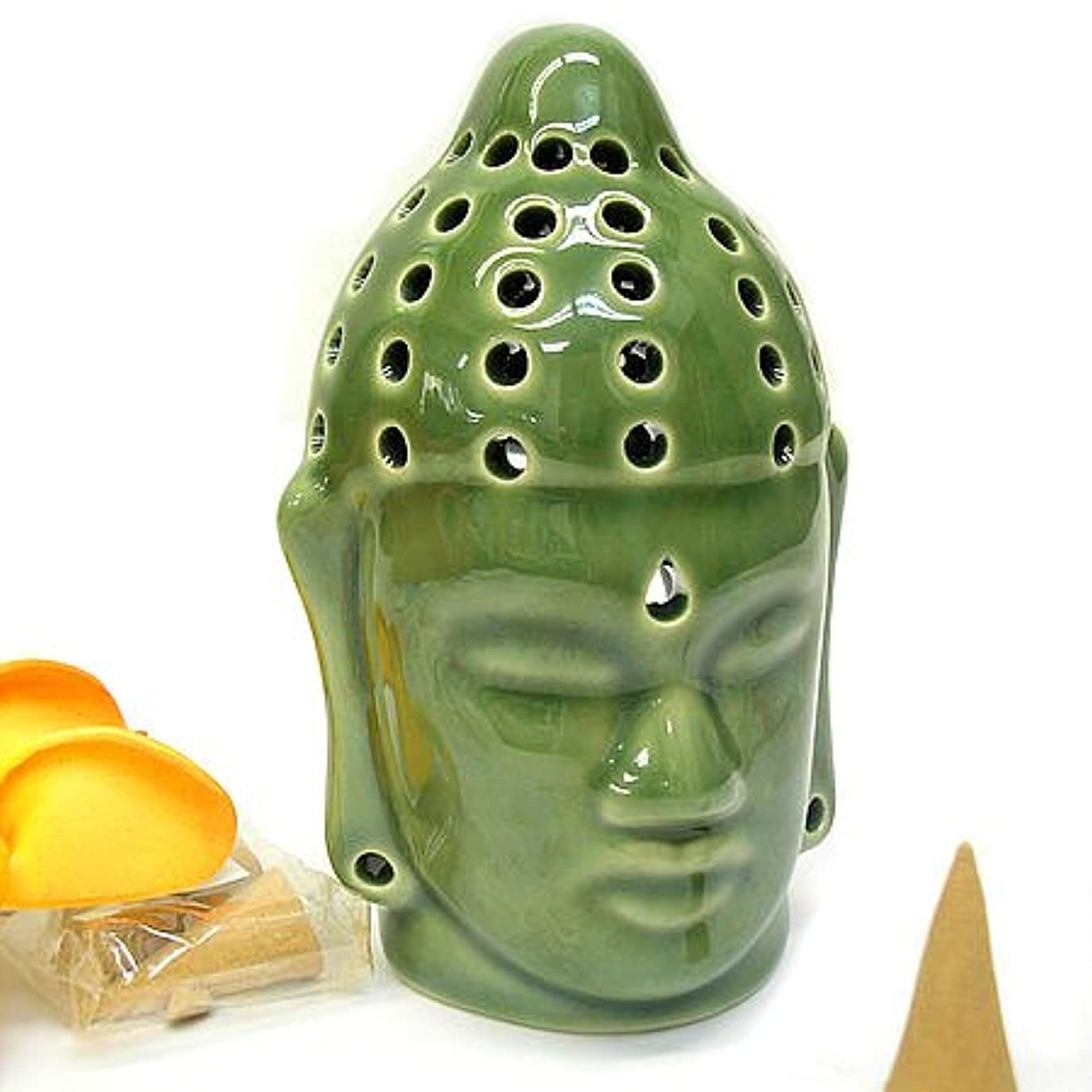 慢な非アクティブ六分儀仏陀の お香たて 香炉 コーン用 緑 インセンスホルダー コーン用 お香立て お香たて アジアン雑貨 バリ雑貨