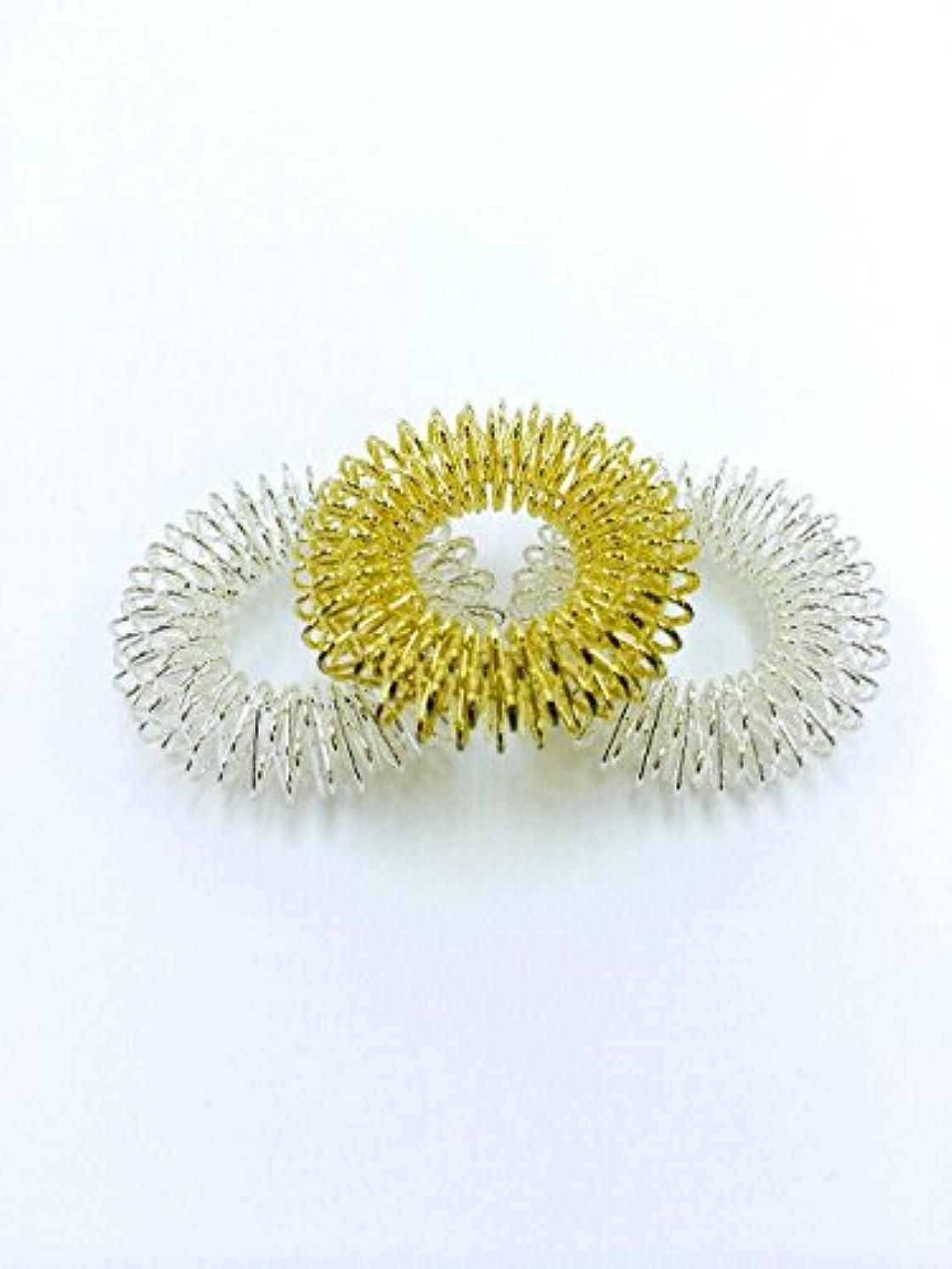 反対した歯科の画像指モミリング 3個セット (ゴールド×1、シルバー×2) ゆびだって揉んでほしい!
