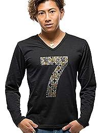 (キャバリア) CavariA メンズ 長袖 Tシャツ ロンT Vネック プリント ライトストーン ナンバリング