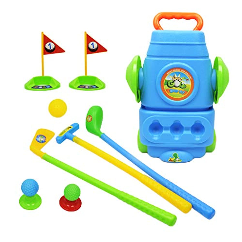 F Fityle 全2カラー プラスチック製 ゴルフクラブ ゴルフプレイセット 子ども 屋外スポーツおもちゃ - 青