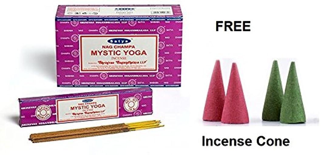 トンネル極端な相互Buycrafty Satya Champa Mystic Yoga Incense Stick,180 Grams Box (15g x 12 Boxes) with 4 Free Incense Cone