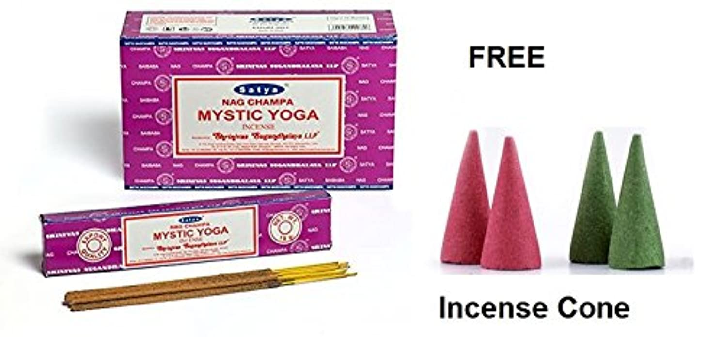 Buycrafty Satya Champa Mystic Yoga Incense Stick,180 Grams Box (15g x 12 Boxes) with 4 Free Incense Cone