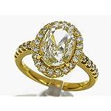 オーバルブリリアントカットダイヤモンド(D1.506ct M-I1)ダイヤ(D0.394ct) リング 750 K18 YG イエローゴールド 日本サイズ約9号 #49 中央宝石研究所鑑定書 30230402