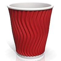 8オンス リップル紙コップ (20個入り) - コーヒー/紅茶/冷たい飲み物用 レッド