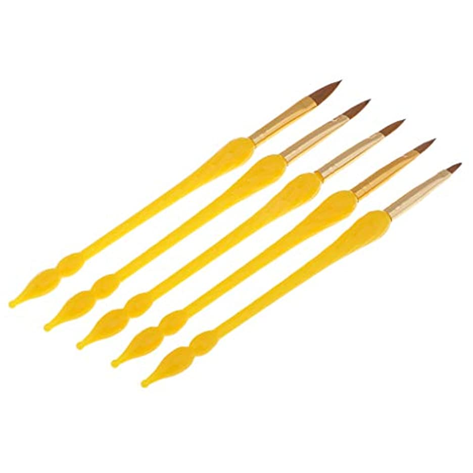サスペンド痛い先見の明Toygogo 5本のプロフェッショナルネイルアートブラシUVジェルポリッシュドローイングライナーペイントペン - 黄