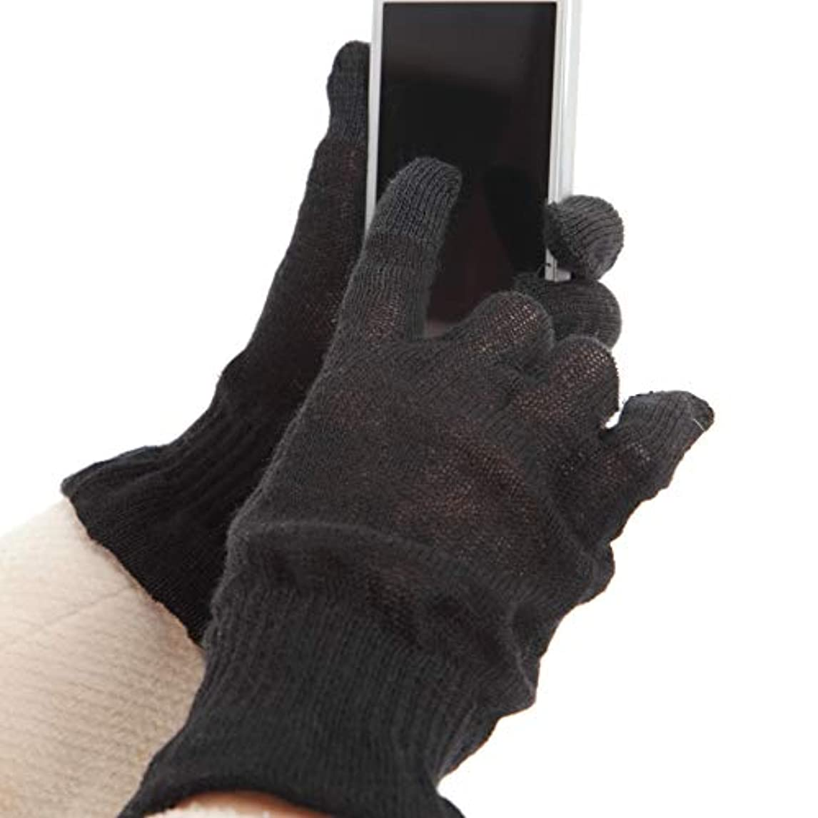 レモン襟レンディション麻福 ヘンプ おやすみ 手袋 スマホ対応 男性用 L 黒 (ブラック) 天然 ヘンプ素材 (麻) タッチパネル スマートフォン対応 肌に優しい 乾燥対策
