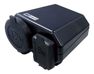ニューイング(NEWING)  バイク用電源  DCステーション プラス2 シガーソケット+USB端子タイプ  MAX120w+2.1A NS-003