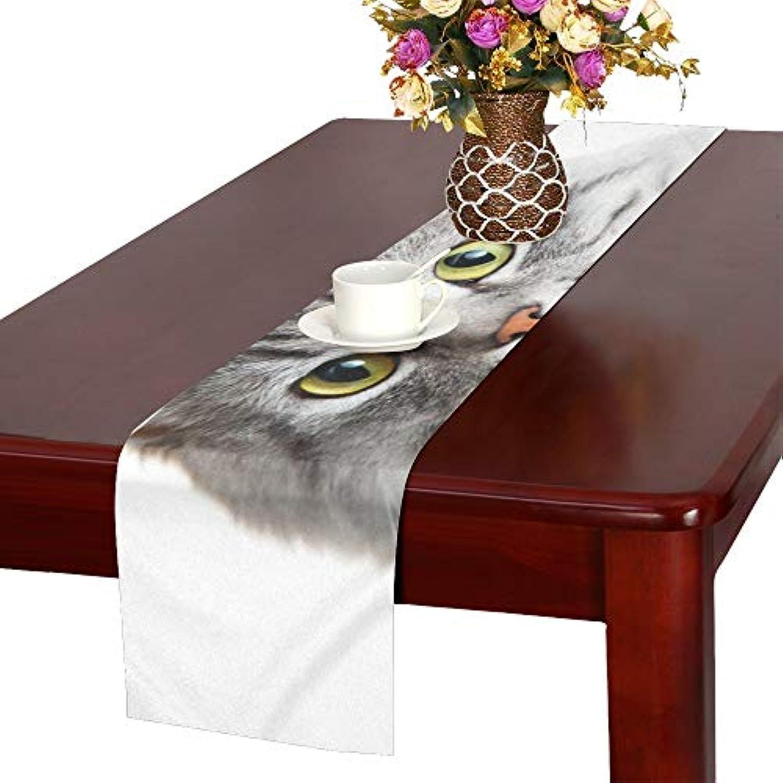 GGSXD テーブルランナー 幼い グレー猫 クロス 食卓カバー 麻綿製 欧米 おしゃれ 16 Inch X 72 Inch (40cm X 182cm) キッチン ダイニング ホーム デコレーション モダン リビング 洗える