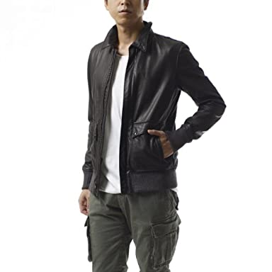 Oiled Leather Flight Jacket: Black