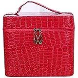 化粧箱、赤、黒ワニ革ポータブル化粧品バッグ、ポータブルポータブル旅行化粧品ケース、美容ネイルジュエリー収納ボックス (Color : Red)