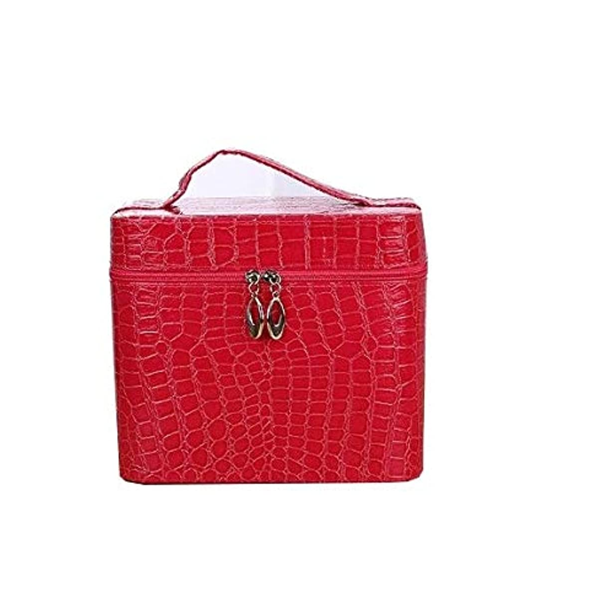 グラフ感嘆実証する化粧箱、赤、黒ワニ革ポータブル化粧品バッグ、ポータブルポータブル旅行化粧品ケース、美容ネイルジュエリー収納ボックス (Color : Red)