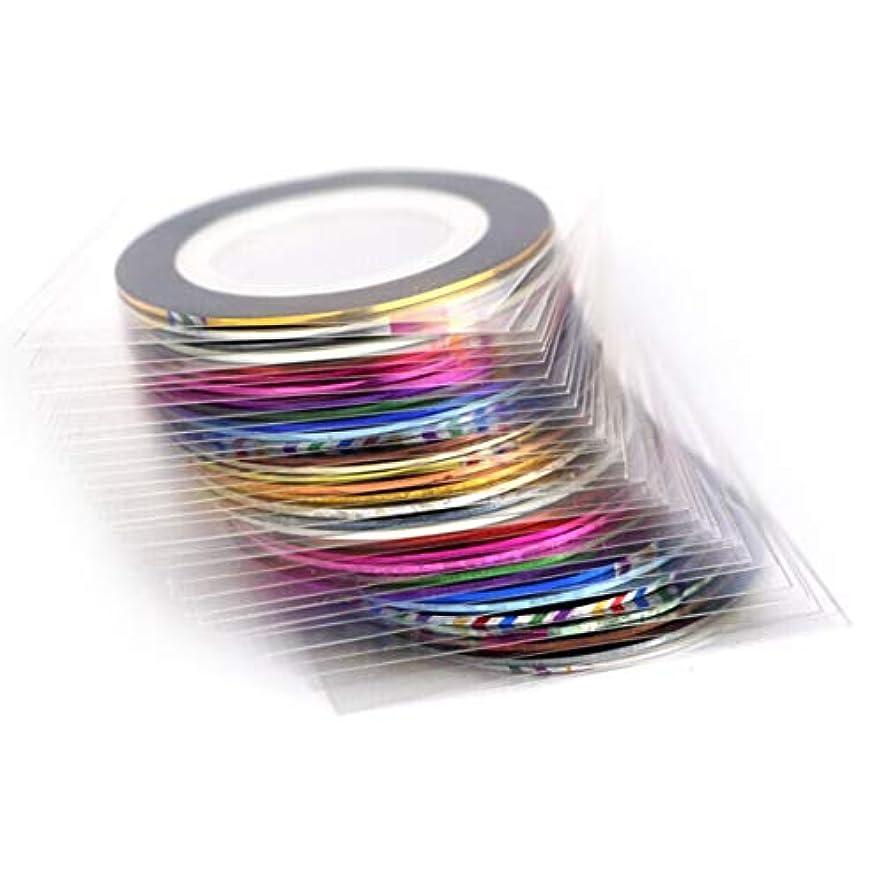 マイクロフォン努力公然とバードランタンネイルゴールドスレッドペースト色付きドローイングライン接着テープネイルステッカー10色20色30色