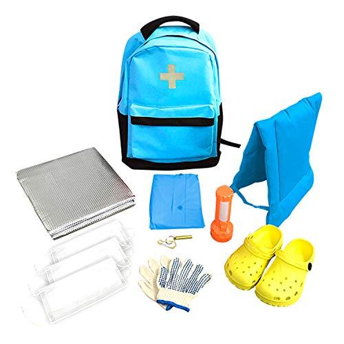 山善(YAMAZEN) 非常用持ち出し袋 簡易避難セット 防災用品 避難リュック 防災グッズ10点セット 子供用 一次避難向け ブルー YCB-10(BL)