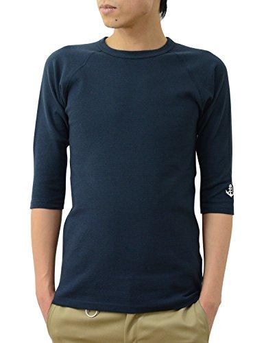 (ジーンズバグ)JEANSBUG オリジナル スパン フライス 7分袖 クルーネック Tシャツ メンズ レディース 無地 SP7T M アンカー(ネイビー×シロ)
