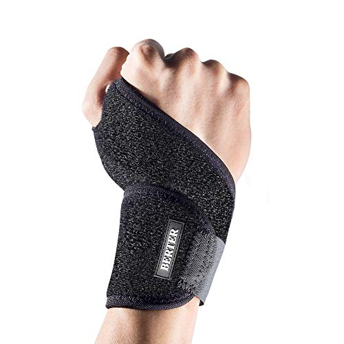 BERTER 手首サポーター - 手首 固定 怪我防止 腱鞘炎 ねんざ 手根管症候群 保護 左右 男女兼用 ブラック 野球/テニス/剣道など