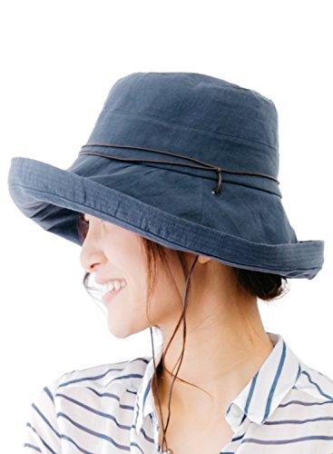 ネイビー (オリエントハット)Orient Hat リボン付き アドベンチャー サファリハット 革紐付き つば広 ハット レディース 日よけ UVカット クロッシェハット キャペリンハット カプリーヌハット 女優帽 つば広ハット BOR807Y_Re-f-NV