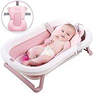 3-in-1 Foldable Baby Bath Tub - Portable Collapsible Lightweight Shower Bathtub - Soft Hypoallergenic Cushion