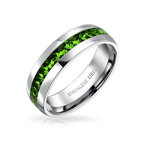 ブリングジュエリー ステンレス製 人工ペリドット クリスタル 8月誕生石 エタニティリング 指輪 サイズ 23号