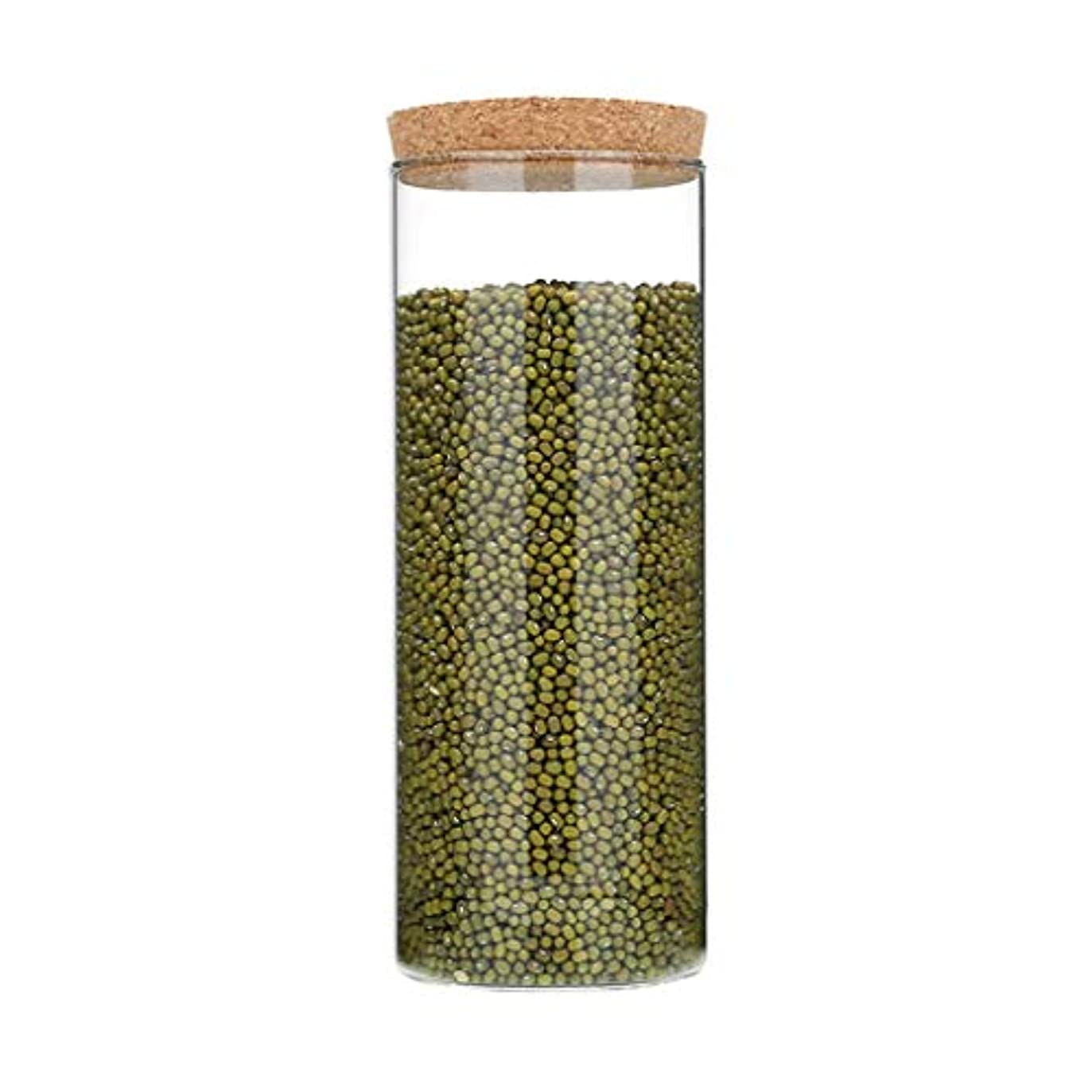 四限界発行するガラスびんシール密閉容器コルクストッパー透明茶穀類乾燥食品食品貯蔵タンク (サイズ さいず : 10 * 25cm)