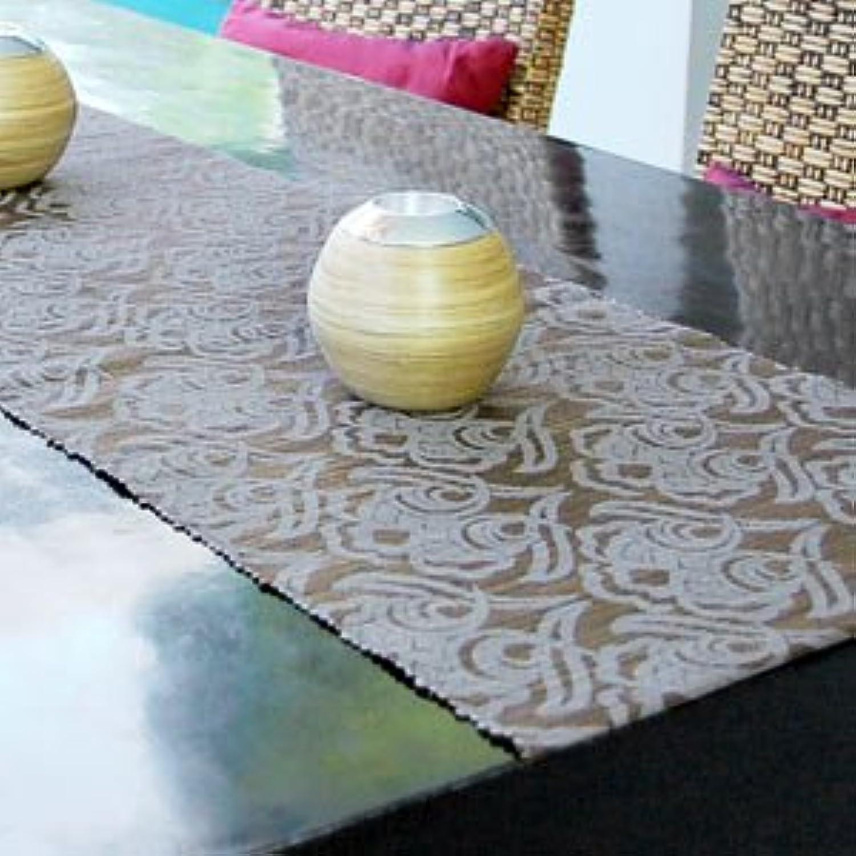 【アジア工房】ウォーターヒヤシンスで出来た可愛い模様のテーブルランナー[ダークオリーブ×グレー][10829] [並行輸入品]