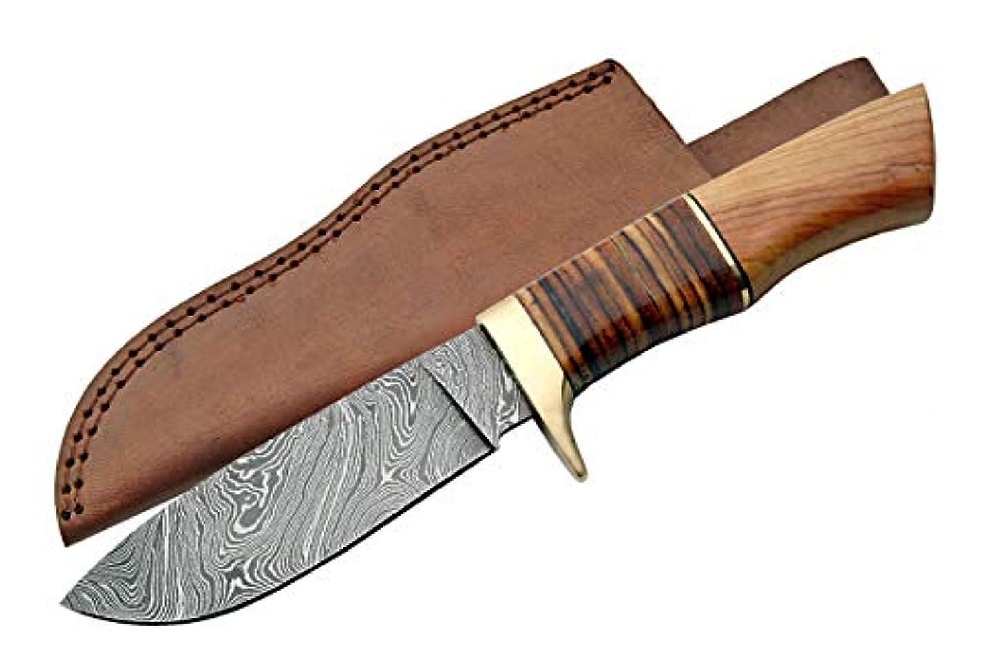 のぞき穴地域おばさんハンティングナイフ ダマスカス鋼 DM1100