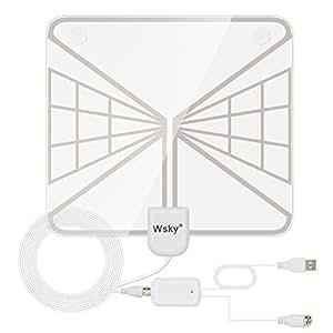 室内 HD テレビ アンテナ Wsky 地デジ ペーパーアンテナ 卓上・TV アンテナ UHF VHF対応 96KM受信範囲 USB式 避雷 簡単設置