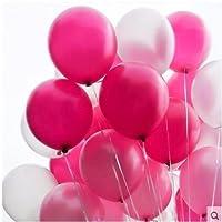72pcs /パック12インチ2.8Gパールバルーン(ピンク&レッドローズ&シルバー) Thickedラテックスバルーンパーティー装飾ウェディング誕生日ヘリウムThickeningパールバルーンパーティーボール