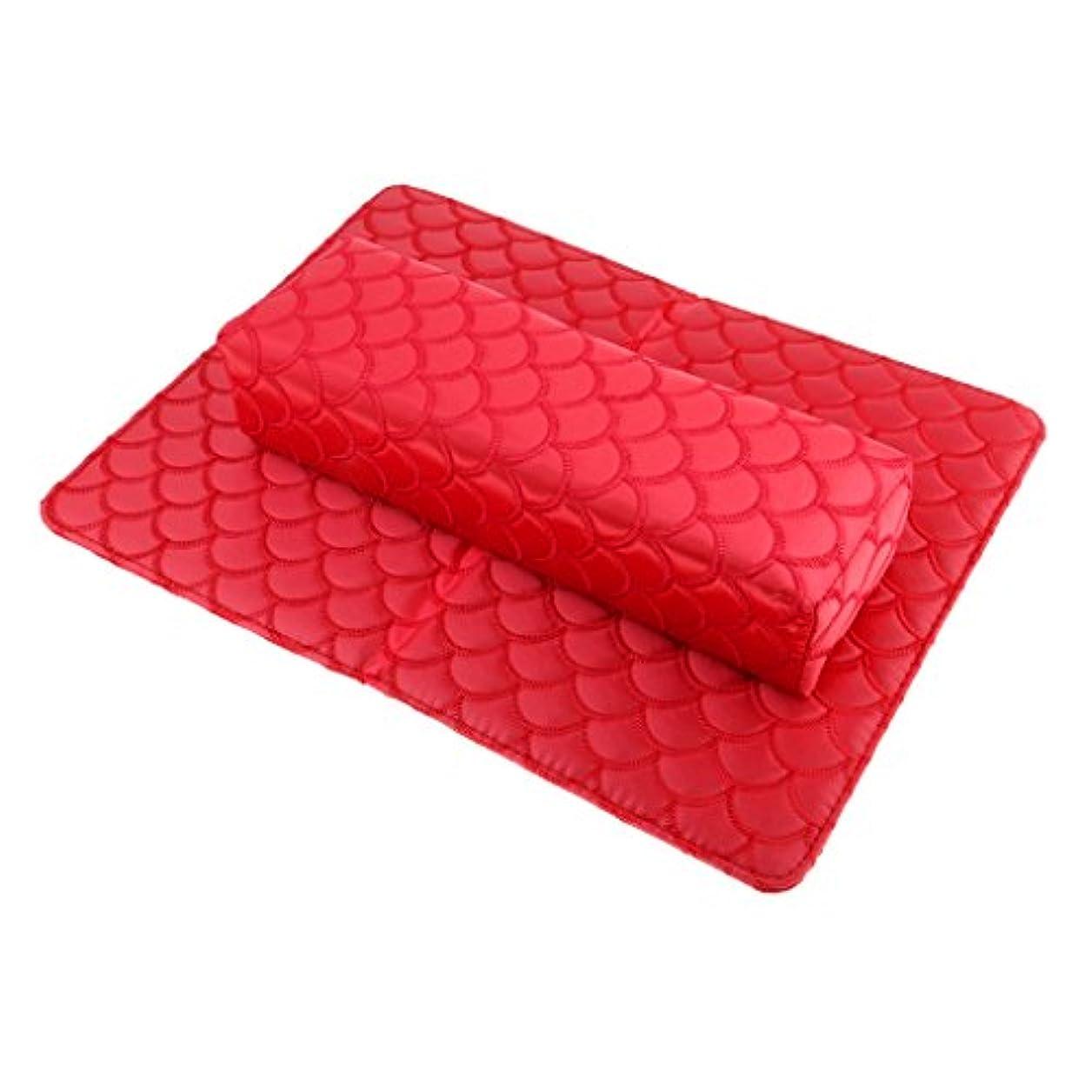 月曜直接構造的Perfeclan ソフト ハンドクッション ネイルピロー パッド ネイルアート デザイン マニキュア アームレストホルダー 多色選べる - 赤