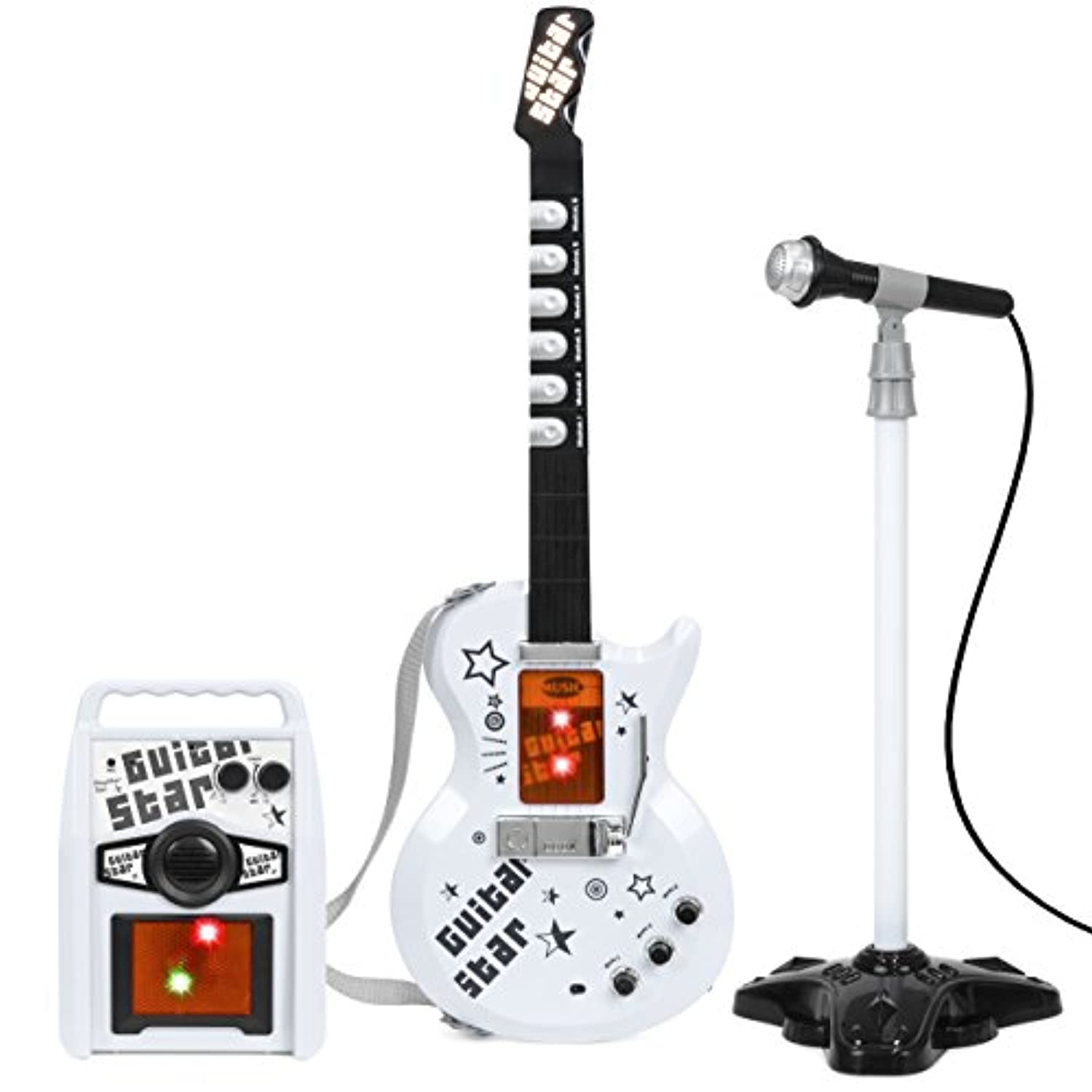 Best Choice Products Kids Electric Guitar Star PlayセットW / App接続、マイク、& Amp Musical Playセット(ホワイト)