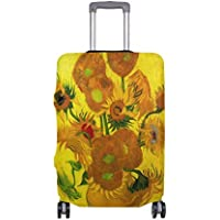 Mydaily Sunflowers Van Gogh Oil Painting Luggage Cover Fits 18-32 Inch Suitcase Spandex Travel Protector