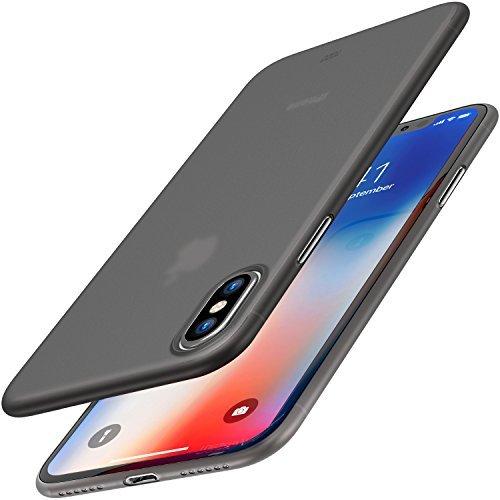 TOZO® iPhone X ケース iPhone 10 / X用 PP[0.35mm] 最軽量 最薄型 半透明 ハードケース マット質感[モカブラック]