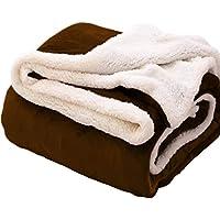 毛布 シングル 2枚合わせ フランネル マイクロファイバー 吸湿発熱 静電防止 柔らかい 選べる4色(ブラウン, シングル-140×200cm)
