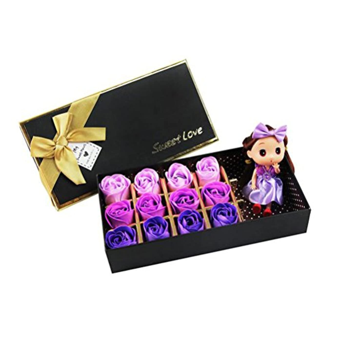 膨張する援助保有者ROSENICE 香り バラ 花 お風呂 石鹸 ギフトボックス (紫)