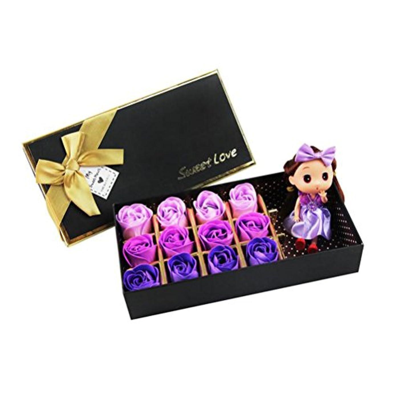 ストリップ海外でどんよりしたROSENICE 香り バラ 花 お風呂 石鹸 ギフトボックス (紫)