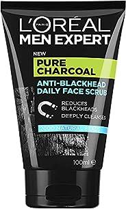 L'Oréal Paris Men Expert Pure Power Face Scrub For Men, Exfoliating Blackhead Wash, for Oily Skin and Brea