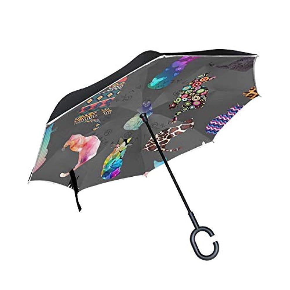 無人盲目矛盾逆傘 逆さ傘 長傘 日傘 逆折り式傘 晴雨兼用 梅雨対策 UVカット 耐強風 C型 二重構造 車用 猫の影