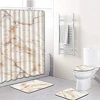 シャワー カーテン トイレマット セット 4点セット 浴室カーテン 180×180 cm 取付簡単 柔らかくて快適 無毒 無味 防塵 防カビ 抗菌 よく換気されている 掃除が簡単 消えない 速乾 滑り止め プライバシー保護 (シャワーカーテン・トイレマットセット) (D)