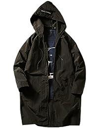 chenshiba-JP メンズ?マキシ固体屋外フード軽量ジッパー薄ジャケット