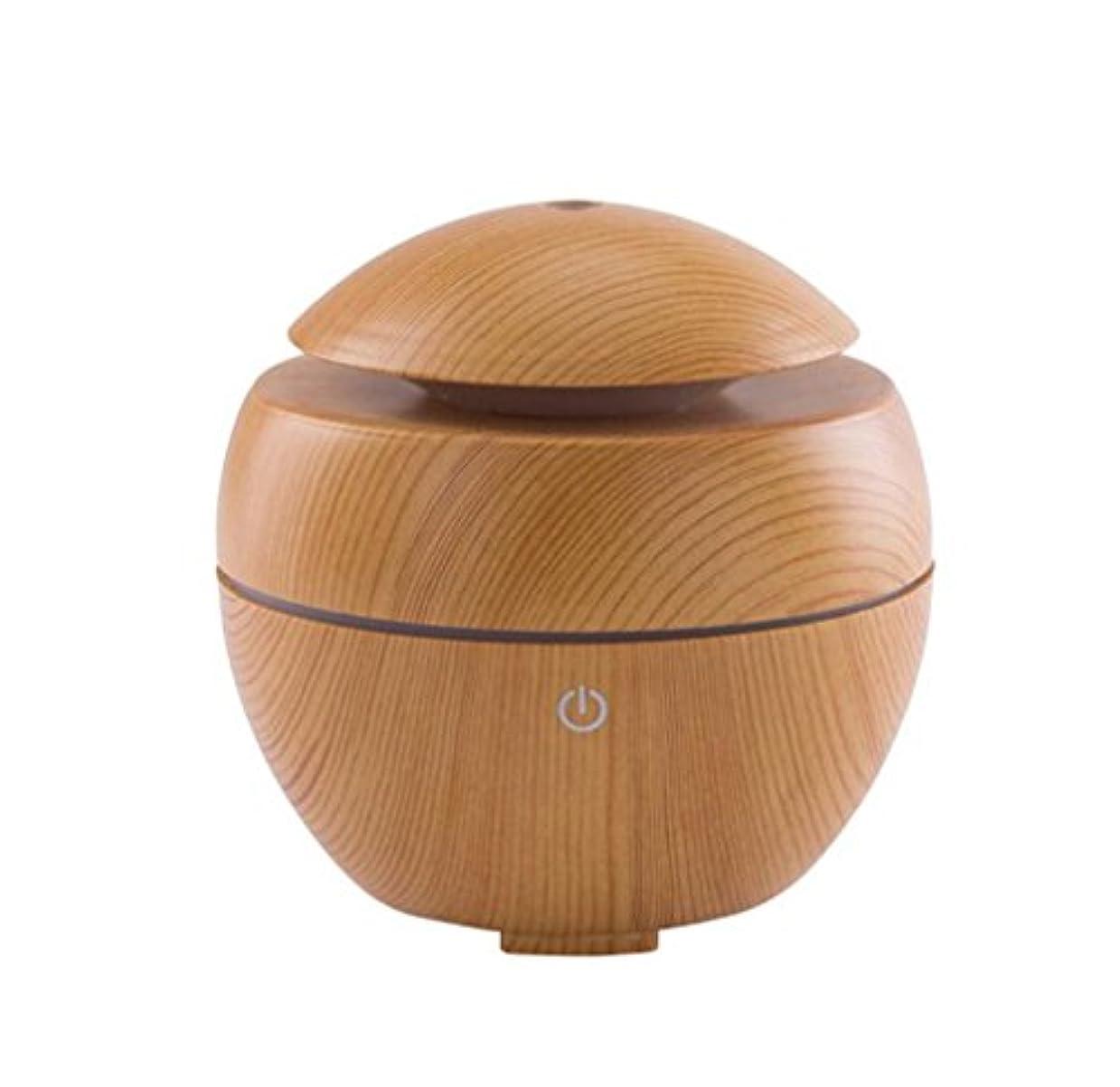 クスコストライクはぁウッドグレインエッセンシャルオイルディフューザークールミストと7色のLEDライトを交換する超音波加湿器ポータブルアロマディフューザー、水なしオートオフエアー清浄機