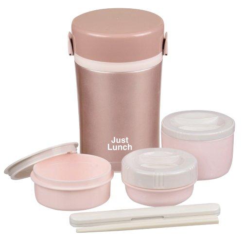 パール金属 保温 弁当箱 茶碗 約 1.3 杯分 ダブルステンレス ランチジャー1000 ピンクゴールド ジャストランチ HB-257