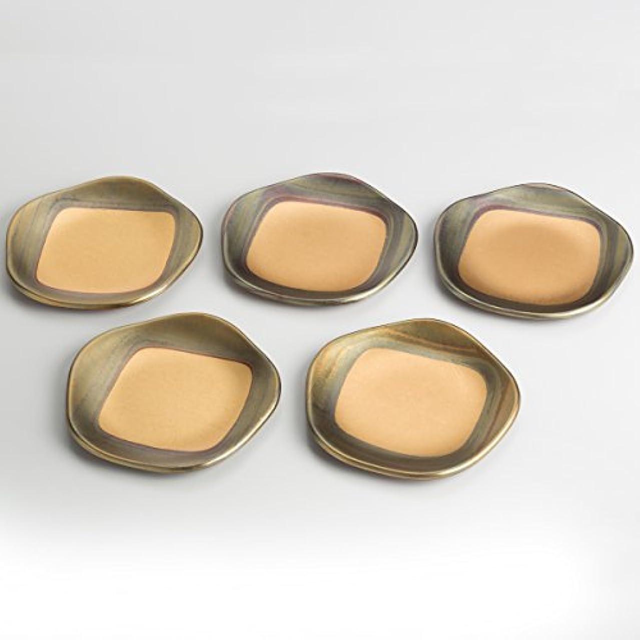 エレクトロニックピクニック商人箔一 小皿 ゴールド 140×140×10mm 古代箔 梅型銘々皿 A131-05002 5枚入