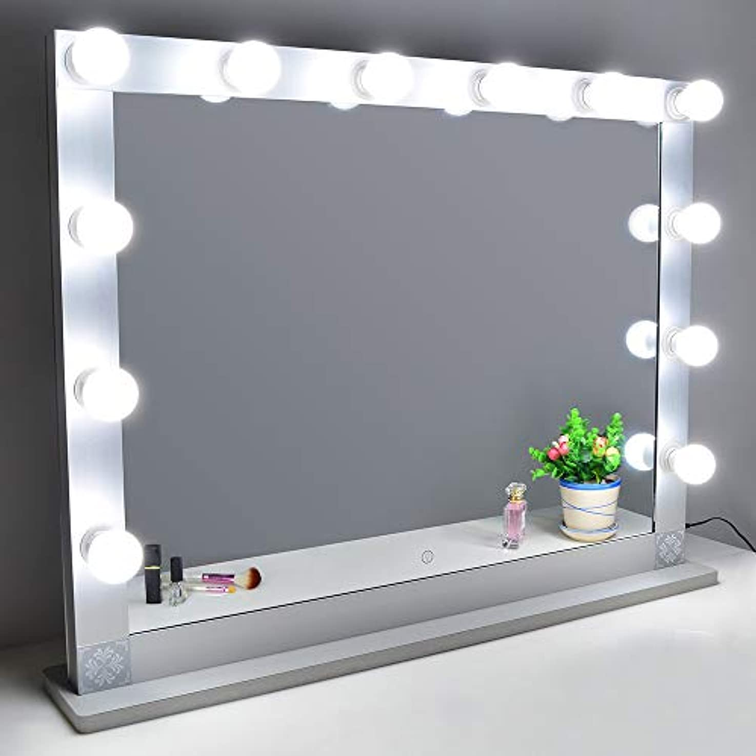 ペインティング露証明書Nitin 女優ミラー 大型化粧鏡 ハリウッドミラー 12個LED電球付き 無段階調光 スタンド付き USB差込口付き 卓上ミラー 女優ライト ドレッサー/化粧台に適用(85*66.5cm)