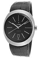 Rado r15760155MM自動セラミックケースブラックレザーサファイアクリスタルメンズ腕時計