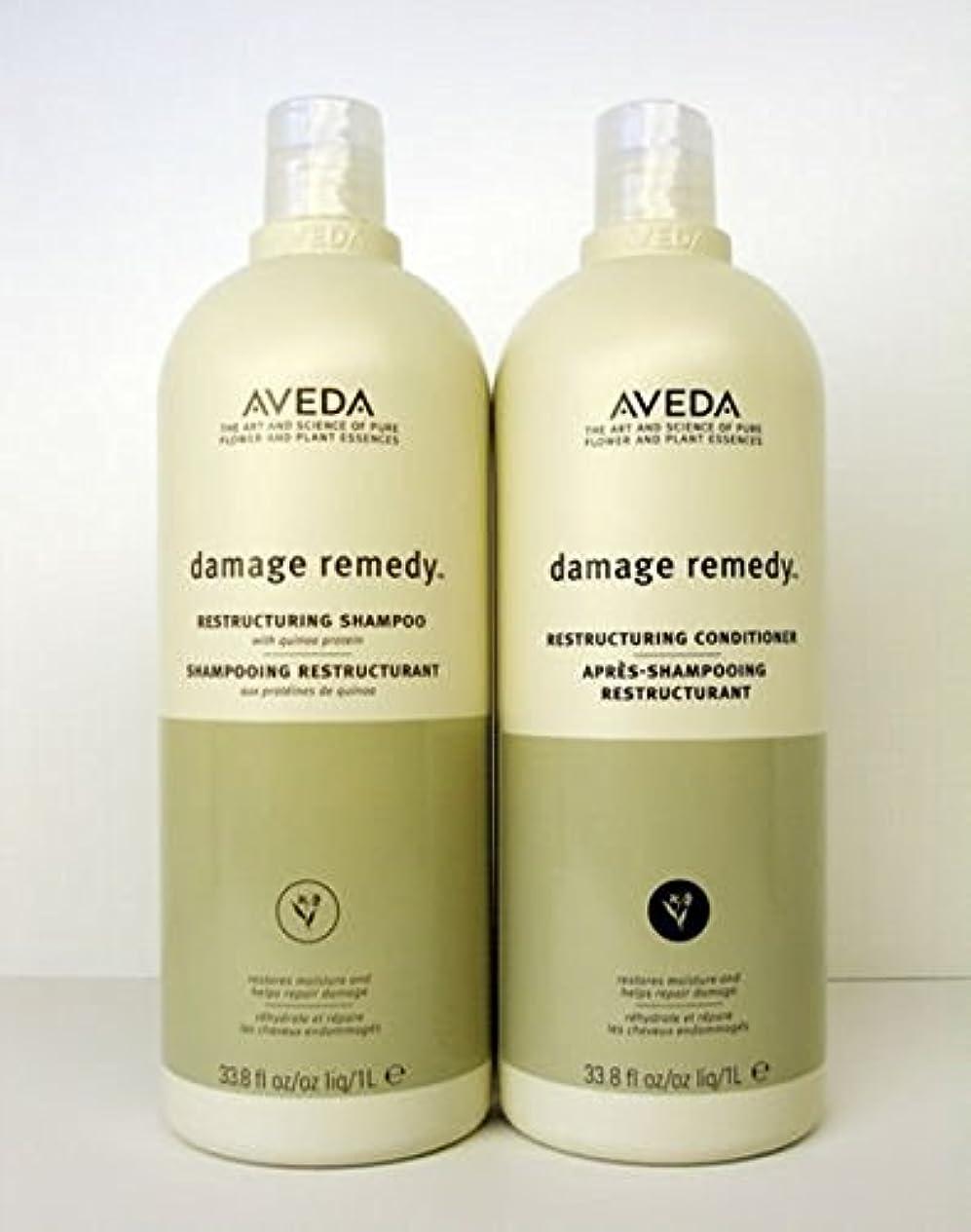 本会議反論中級Aveda Damage Remedy Shampoo & Conditioner Liter Duo Set by Aveda [並行輸入品]